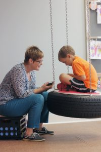 Jacob with Occupational Therapist Elise Spronk